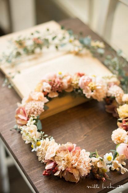 アンティークピンクナチュラル花冠