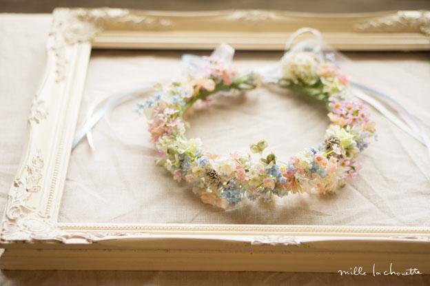 パステルブルー×ピンク小花花冠