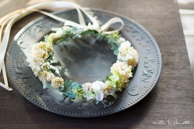 ホワイト×グリーンナチュラル花冠