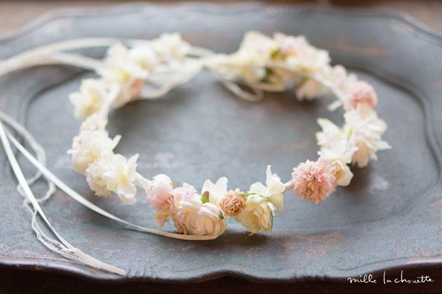 ホワイトピンク小花花冠