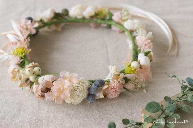 ピンク×ホワイトニュアンスカラー花冠