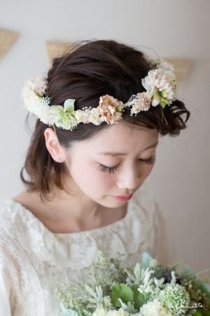 パステルシュガーピンク×グリーン花冠