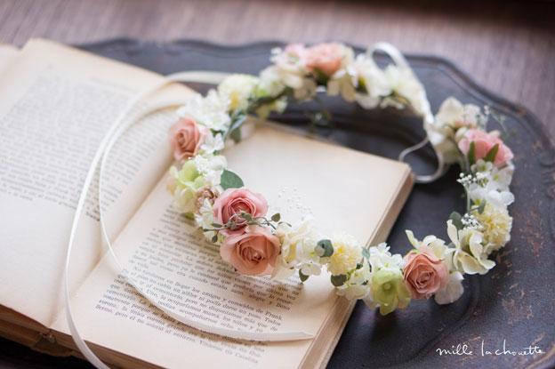 ピンクローズ花冠