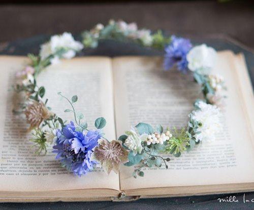 ブルー矢車草ナチュラル花冠