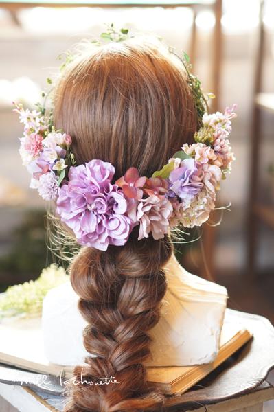 パープルピンクヘッドドレス
