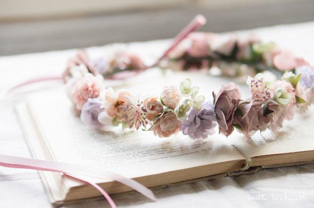 パープルピンクアンティーク花冠