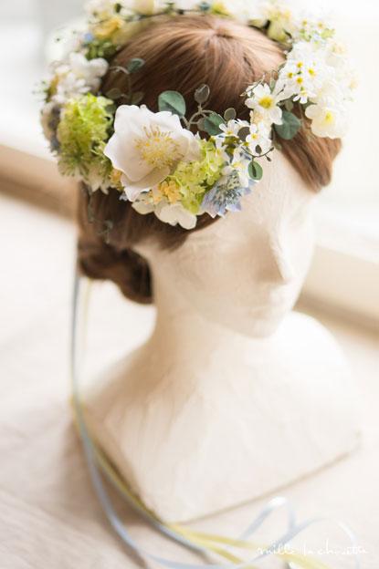 ホワイト×ブルーナチュラル花冠