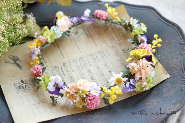 ナチュラル野花パンジーカラフル花冠