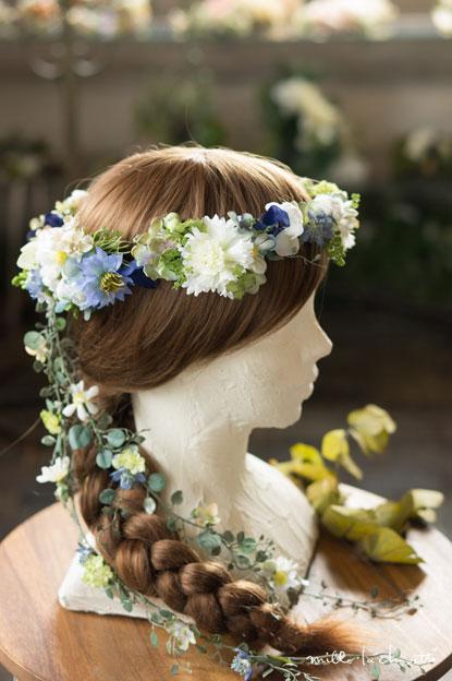 ブルー×ホワイト・グリーンナチュラル花冠