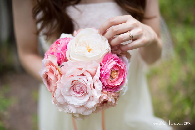 ピンク×ホワイトローズブーケ