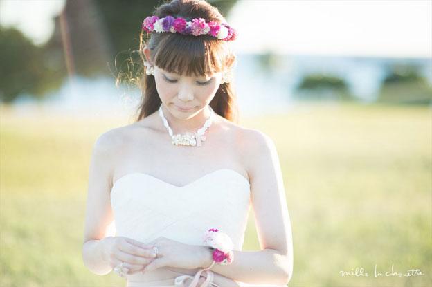 ピンク×ホワイトポンポンマム花冠