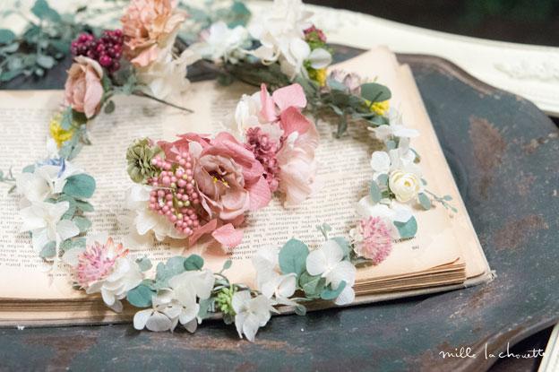 アンティークピンク花冠