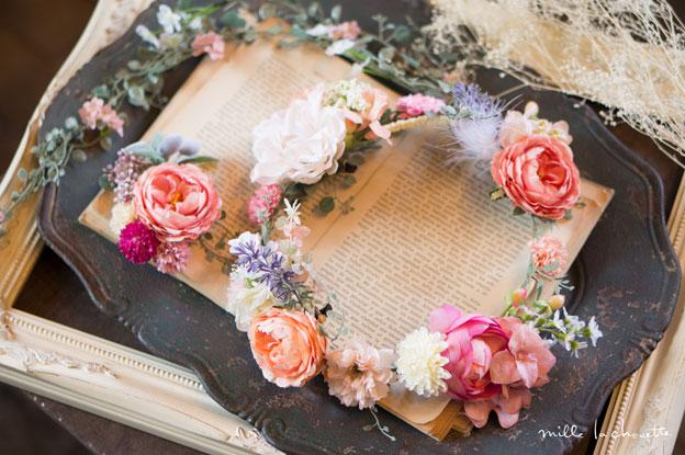 コーラルピンクローズ花冠