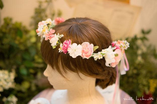 ピンクホワイト花冠