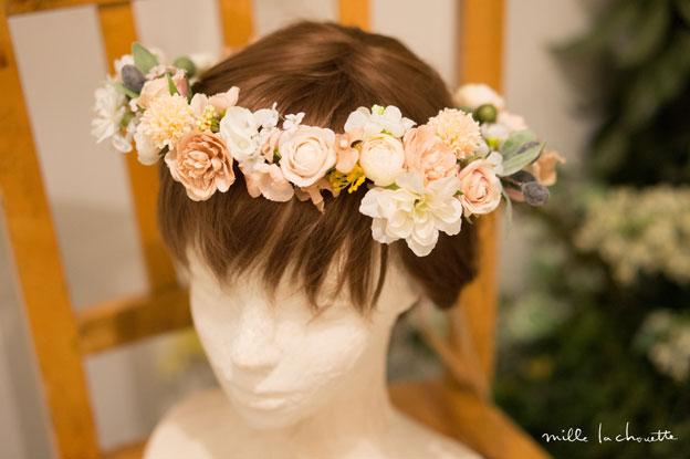ホワイト×ピンクローズ花冠