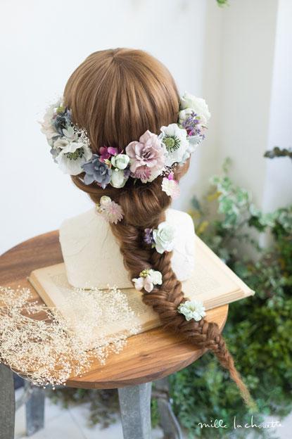 パープルグレーアネモネヘッドドレス