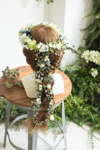 デイジーホワイト×ブルーナチュラル花冠