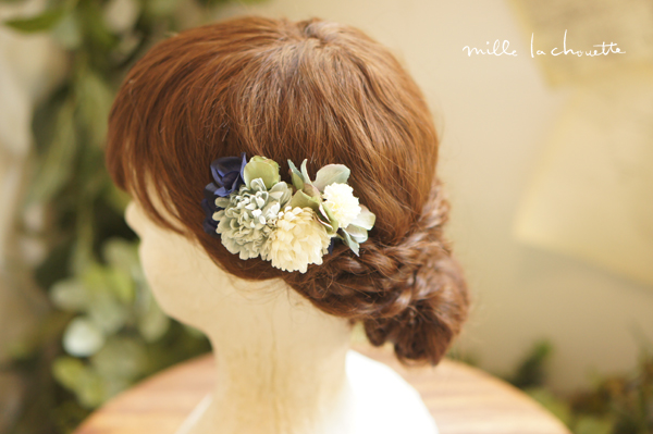 ブルーグレーアジサイ髪飾り
