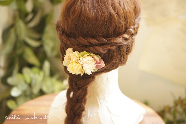 ピンクイエローアジサイ髪飾り
