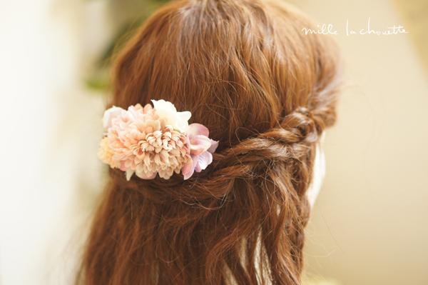 ピンクホワイトアジサイ髪飾り