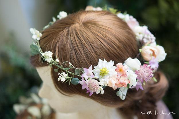 ピンクパープルナチュラルグリーン花冠