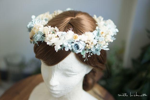 サムシングブルーローズホワイト花冠