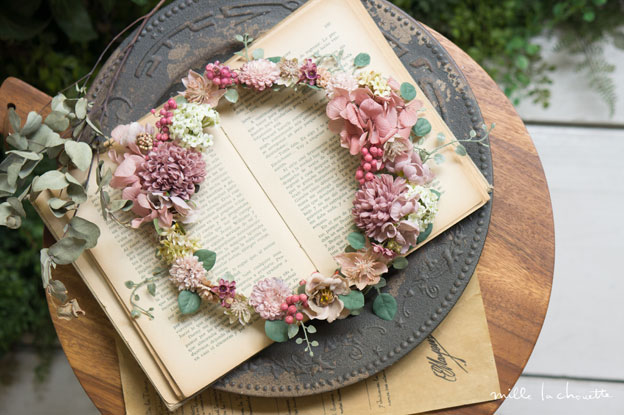 アンティークピンクベリー花冠
