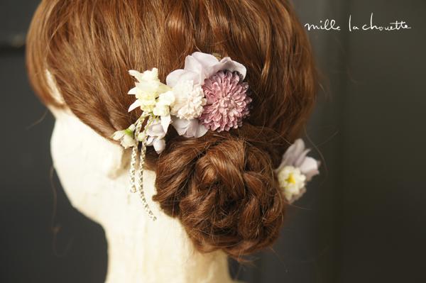 パープル髪飾り
