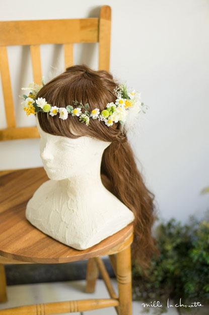ホワイトグリーンイエロー小花花冠