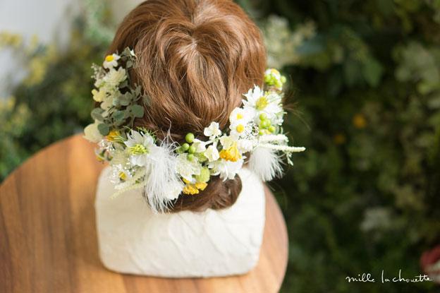 ホワイトグリーンイエロー小花ヘッドドレス