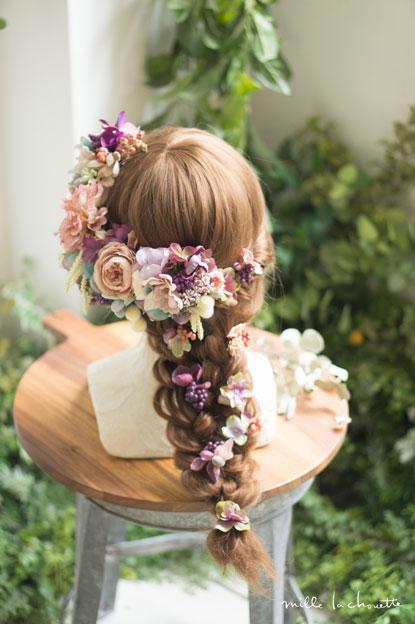 アンティークピンクパープルヘッドドレス