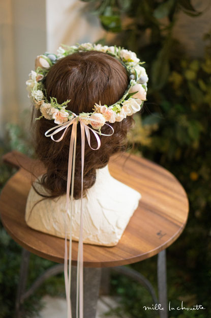 アンティークピンクベージュ花冠