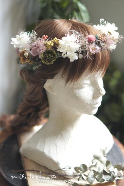 アンティークパープルホワイトヘアパーツ/花冠