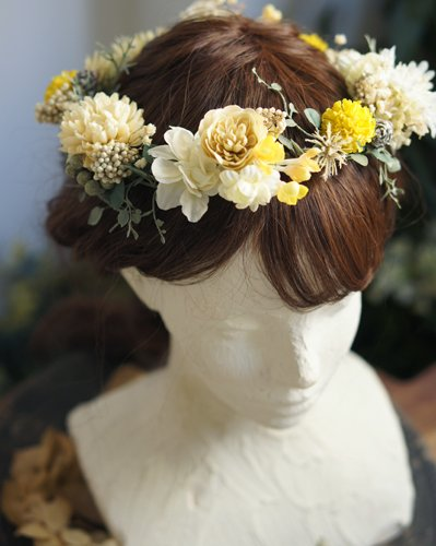 ホワイトイエローマムヘアパーツ/花冠