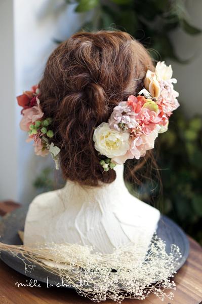 ピンクグラデーションヘッドドレス