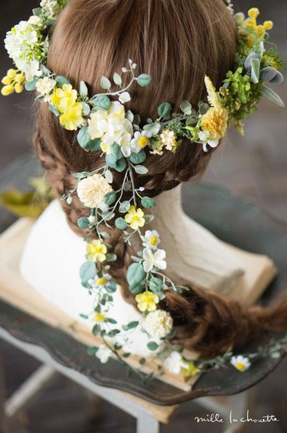 ミモザとカモミールのナチュラル花冠