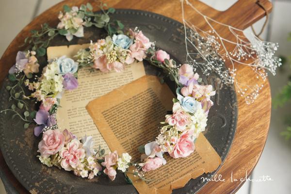 パステルカラーカラフルナチュラル花冠